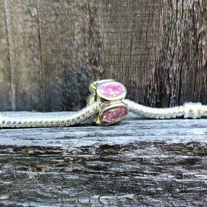 Pink Crystal Pandora Bead
